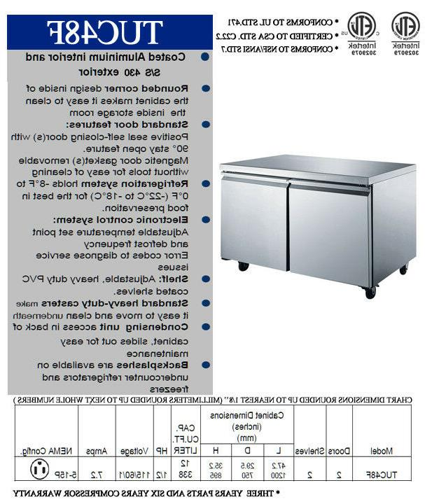 """48"""" Commercial 2 Bar NSF Cooler New"""