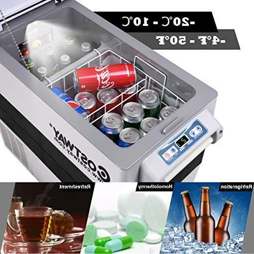Costway Refrigerator/Freezer Car Mini Fridge Electric Cooler for Truck Picnic Camping(-4°F to 50°F)