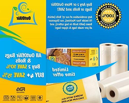 "11"" x - 4 Vacuum Sealer Foodsaver and 33% Free, FDA Approved, Vide, Commercial Grade"