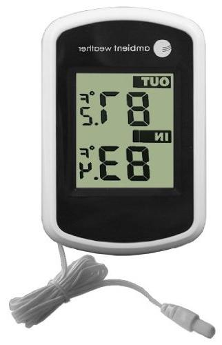 Ambient Weather Compact WS-02 Indoor/Outdoor Thermometer wit