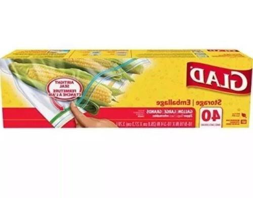 Glad Zipper Food Storage Plastic Bags - Gallon - 40 Count