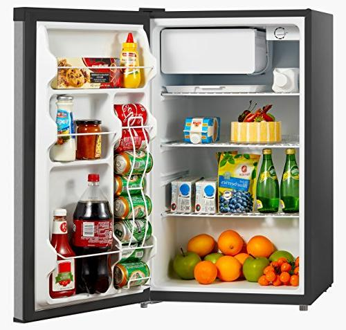 Midea Reversible Refrigerator and Freezer, Cubic Stainless Steel