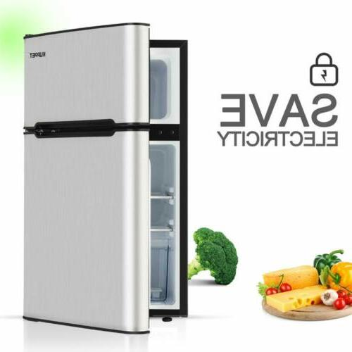 3.2 Cu Ft Mini Fridge Compact Refrigerator 2-Door  Freezer w
