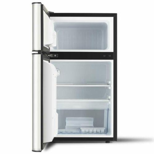3.2 Cu.Ft Stainless Steel Double Door Refrigerator Freezer Fridge