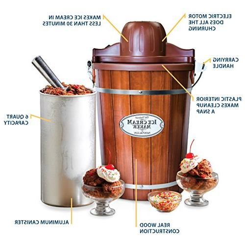 Nostalgia ICMP600WD Wood Bucket Ice Cream Maker,