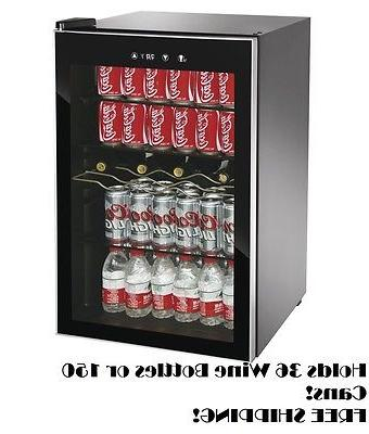Beverage Center Glass Fridge Wine Compact