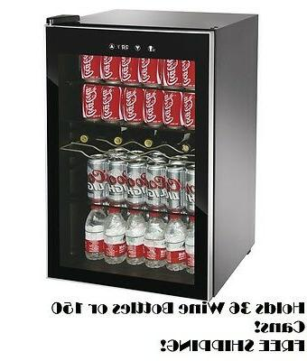 Beverage Refrigerator Cooler Glass Door Mini Wine Compact