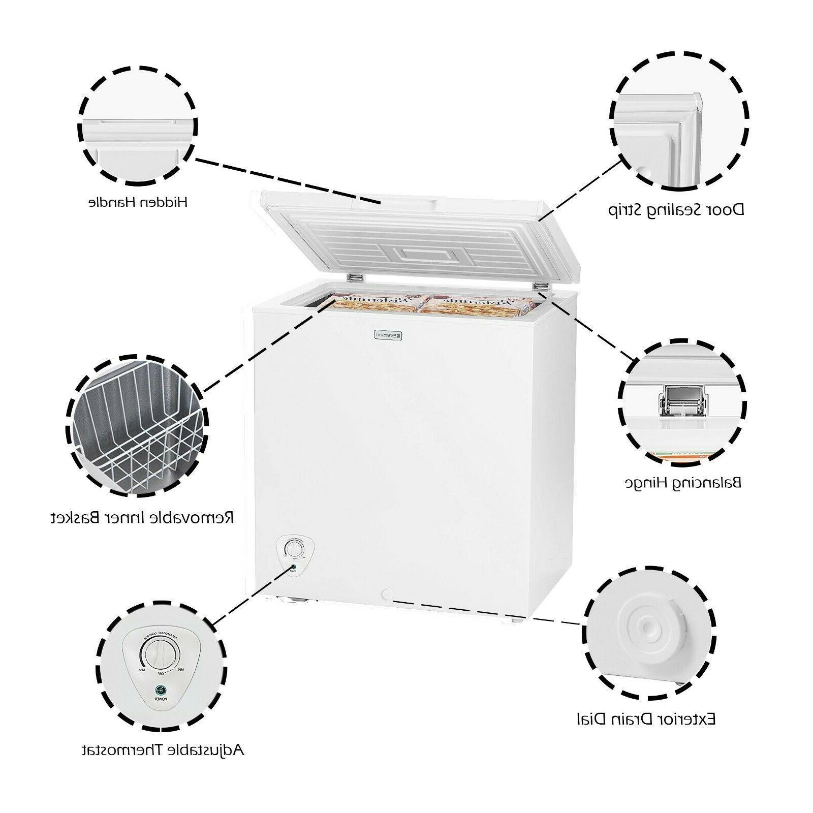 Chest Freezer Deep Freeze 5.0 Ft Quick Freeze Drain White