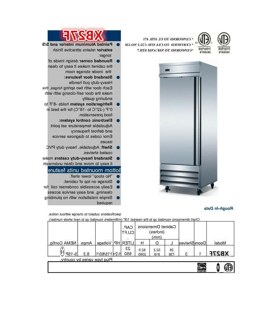 Commercial Reach In Single Door Upright Freezer Kitchen 1 NSF ETL