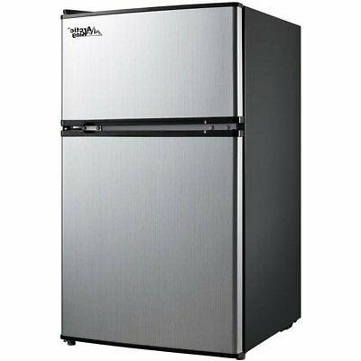 cooler two door mini fridge with freezer