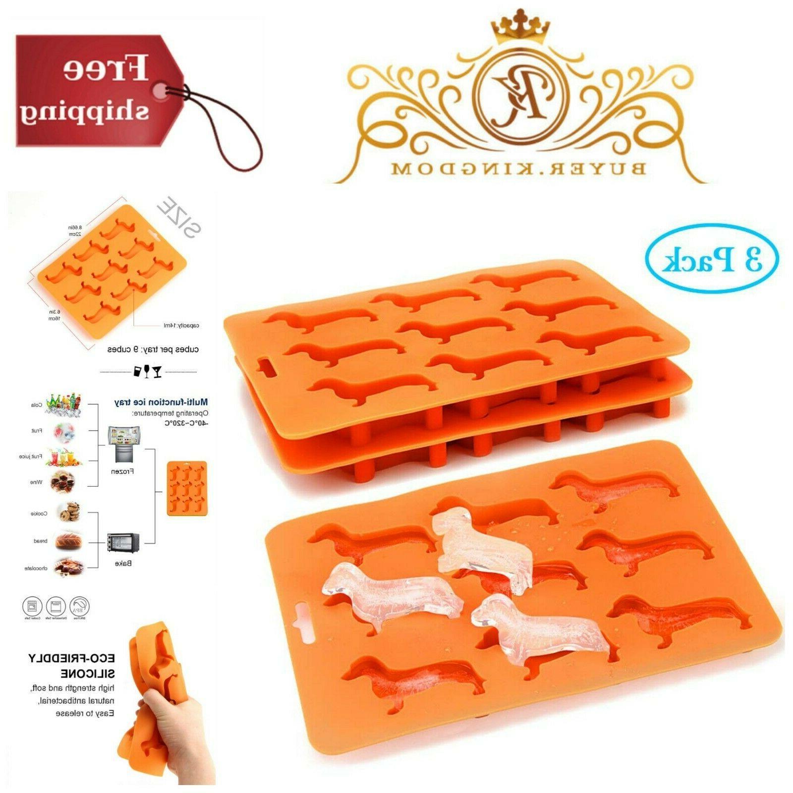 Dachshund Silicone Ice Cube Freezer Tray Non Stick Candy Mol