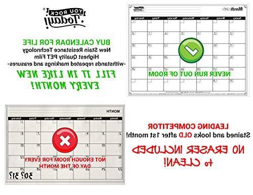 Dry Erase Calendar and Strong Magnet 8 Free Magnetic Large Eraser – Fridge Calendar for Home, Office