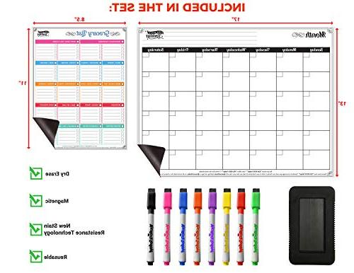 Dry Erase Calendar x and List Strong 8 Magnetic & Large Eraser – Whiteboard Fridge Home, Office & School