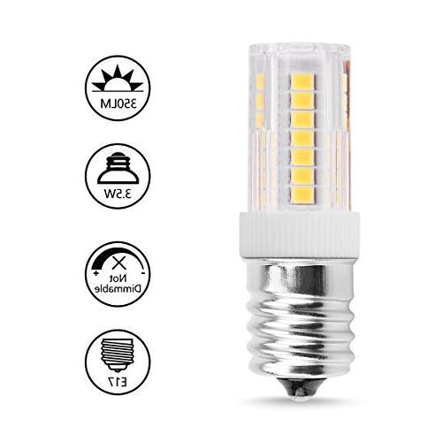 Smartinliving E17 LED Bulbs, Daylight White 6000K, Lamp, AC 120V E17 Intermediate Oven Light Appliance, Refrigerators&Freezers Lighting, Pack of