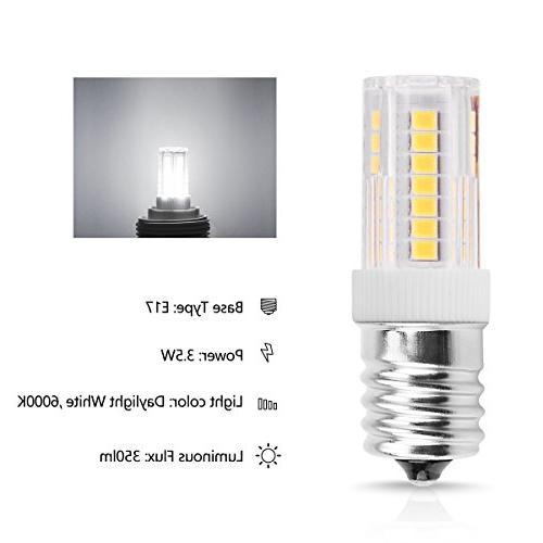 Smartinliving LED Bulbs, Watt Equivalent, Daylight White 6000K, Lamp, Intermediate Oven Light Refrigerators&Freezers Lighting, Pack