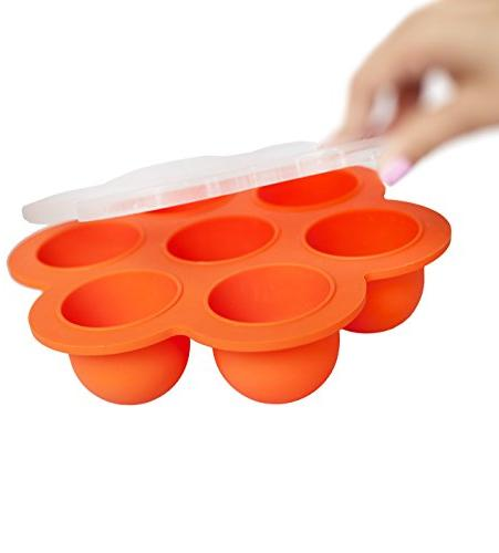 REDNOLIA Tray with | Multiportion Silicone Food Storage for Homemade Food and BreastMilk BPA-FREE Orange