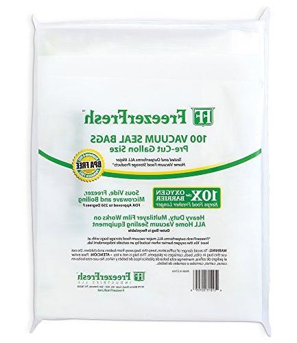 100 Fresh Size Grade Vacuum Seal Individual Bags. Food Compatible FoodSaver,