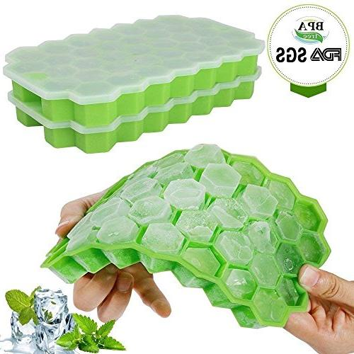 Ice Cube Lids,Bomstar Pack Grade Silica Gel Flexible 74 Spill-Resistant Removable Ice Molds Whiskey Storage,Cocktail,Beverages