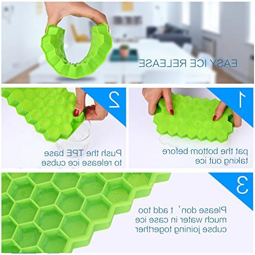 Ice Cube Trays with Lids,Bomstar 2 Grade 74 Ice Spill-Resistant Lid,BPA Ice Cube Molds for Whiskey