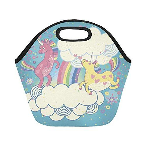 Insulated Neoprene Cute Unicorns The Clouds Size Reusable Thermal Tote Bags Boxes School