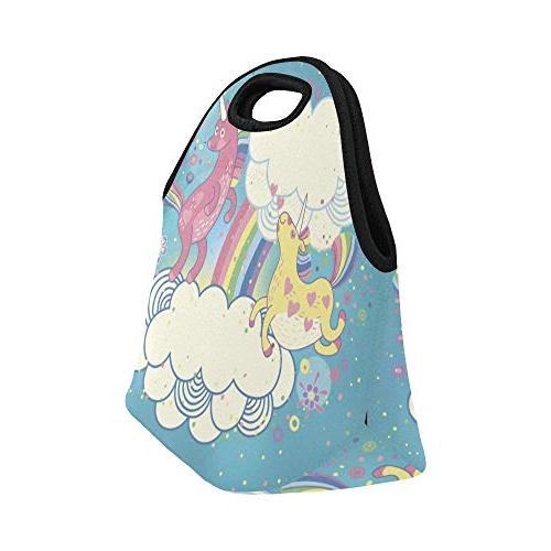 Cute Unicorns Rainbow In The Reusable Thermal Thick Lunch Boxes School