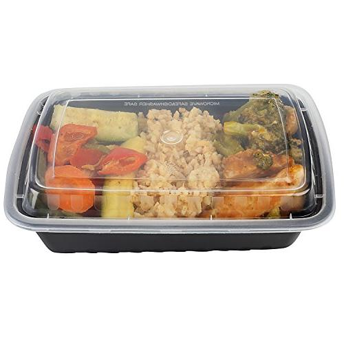 50-Pack Microwavable meal & Safety Lid oz. Black Storage Lunch Food Grade -Freezer & Dishwasher Safe
