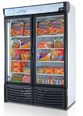 new commercial 2 glass door display freezer