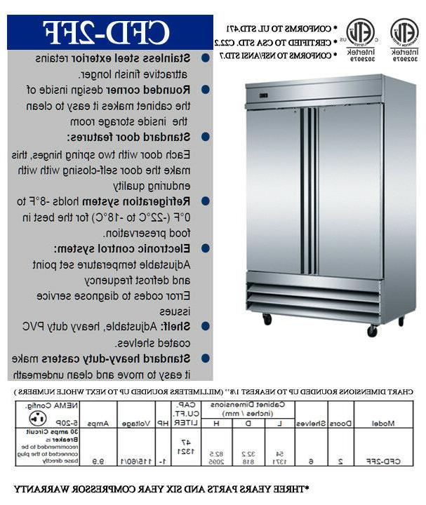 NEW Two Reach In Stainless Freezer