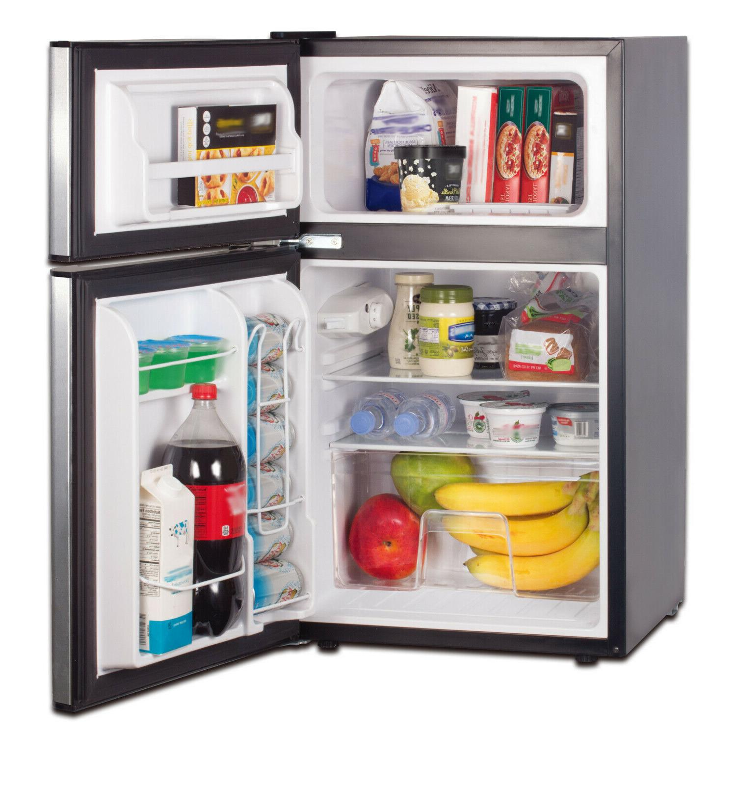 RCA 3.2 Two Mini Fridge with Freezer RFR834, Steel