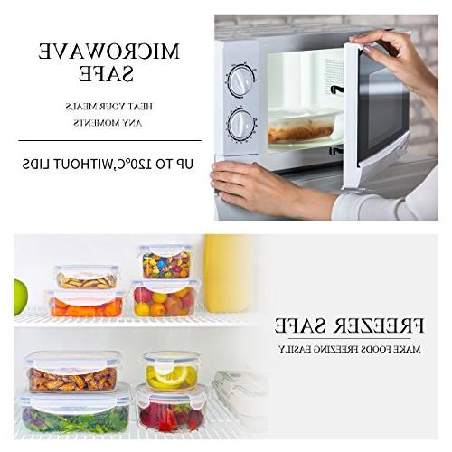LEXINGWARE Rectangular Food Storage Container Leakproof Food Container Lids, Free Plastic
