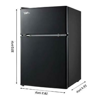 3.2 Fridge Freezer 2-Door Refrigerator Cooler Black NEW!