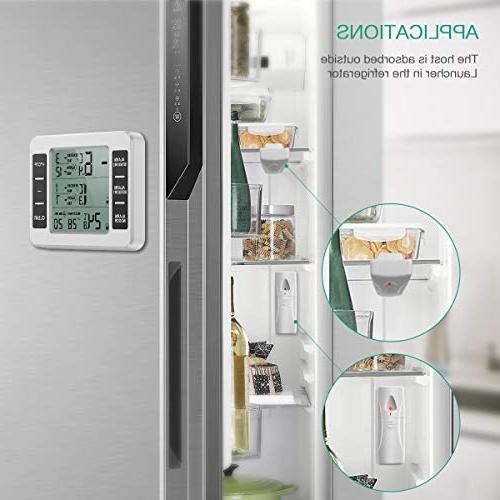 ORIA Thermometer, Wireless Digital 2 Wireless Sensors, Audible Alarm, Record, Display for Bars, Cafes
