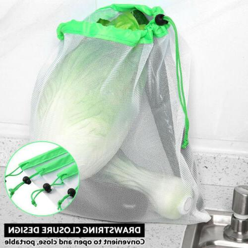 Reusable Food Drawstring Storage Food Bags Mesh Net