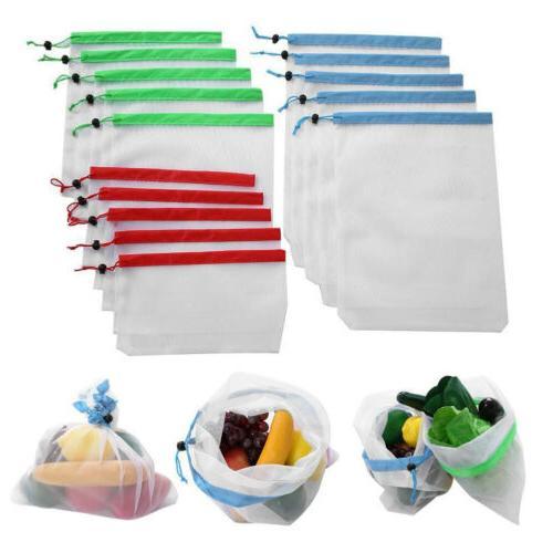 Reusable Drawstring Storage Food Ziplock Bags Mesh Net