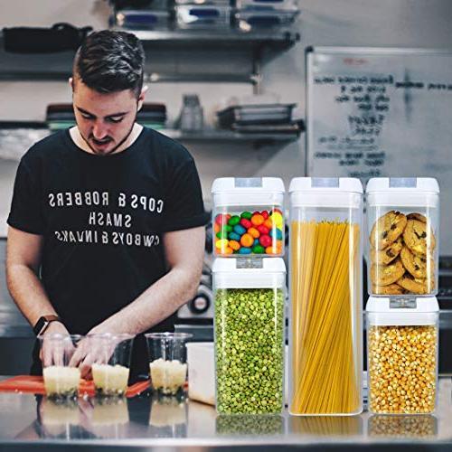 Balchy 5 Piece Food Storage - Airtight Durable Plastic Free - Dishwasher - Food Dry & with Easy Lock