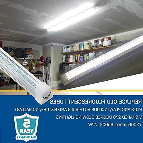 8Ft Fixture, Integrated Tube Light, 7200LM, 270 Lighting LED Bulbs for Warehouse Workshop Basement, Plug and