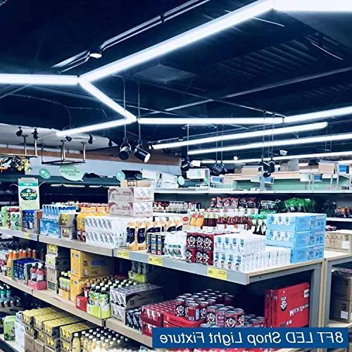 8Ft Shop Fixture, 72W Integrated Double Row V Shape Bulbs Garage Workshop Plug and Play