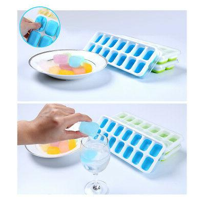 silicone ice cube tray box with lid