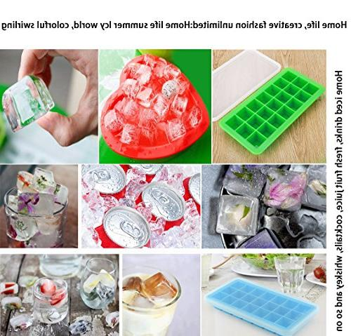 Korlon Ice Cube Lid - Easy Release Ice - Silicone Maker Cocktail Whiskey, 21 Shaped with Cover