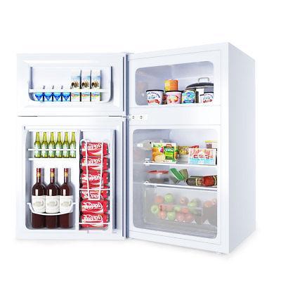 Stainless Steel Refrigerator Small Freezer Fridge 3.2