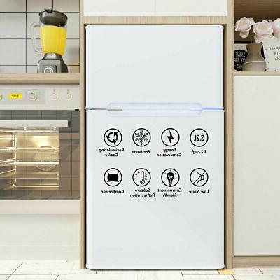 Stainless Refrigerator Small Freezer Fridge 3.2