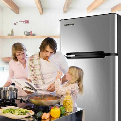 Stainless Steel Refrigerator Small Freezer Cooler Fridge Hom
