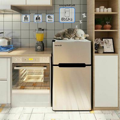 Stainless Steel Refrigerator Small Freezer Cooler Fridge Gra
