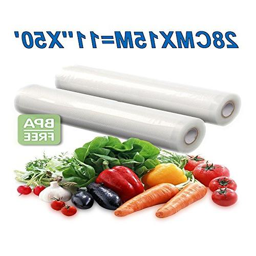Two x 50' Vacuum Sealer Storage FDA Approved and Free Vacuum Seal Rolls ,Commercial 11X50Vacuum Bags Make Bag!