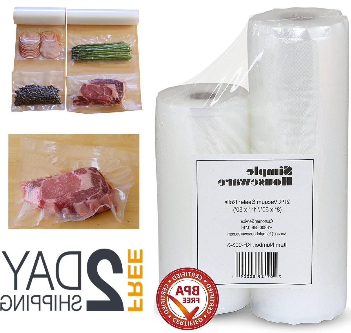 2 Pack 11x50 and 8x50 Vacuum Sealer Bags Rolls Food Saver St