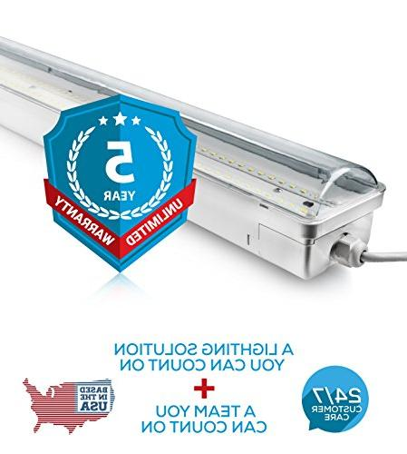 Hyperikon LED Vapor Fixture 70W ,UL & DLC Clear Cover, 120-277v, Garage Wash, Warehouse, Walk in Freezer Light,