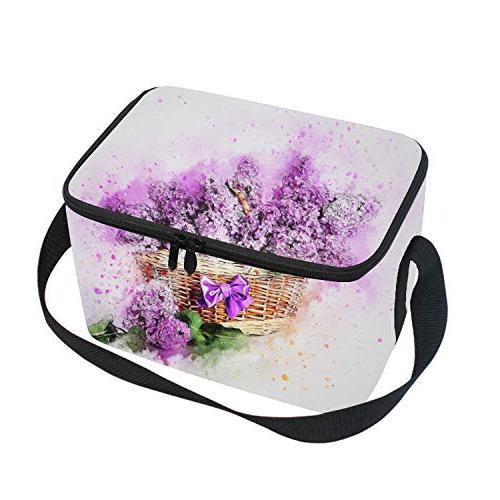 watercolor purple lavender lunch bag