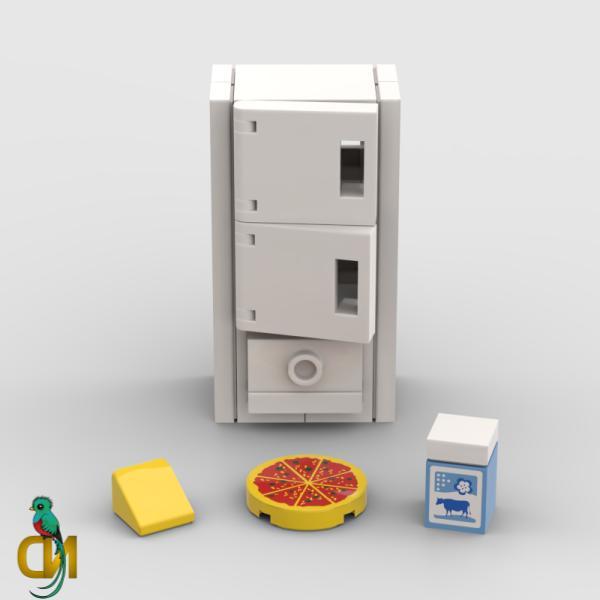 Lego Fridge w/ Pizza & Milk- Minifigure Kitchen White Freeze