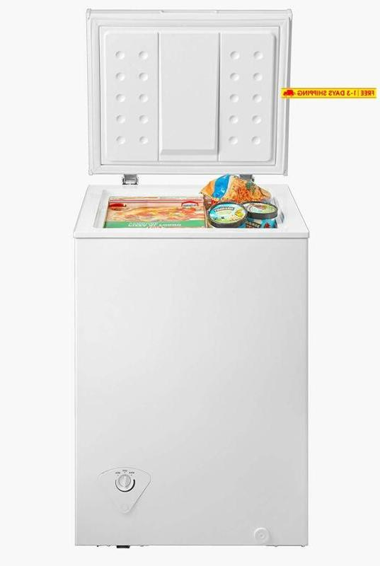 midea WHS-129C1 Single Door Chest Freezer, 3.5 Feet, White