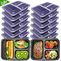 VANCOOL Meal Prep Containers 3 Compartment with Lids BPA Fre
